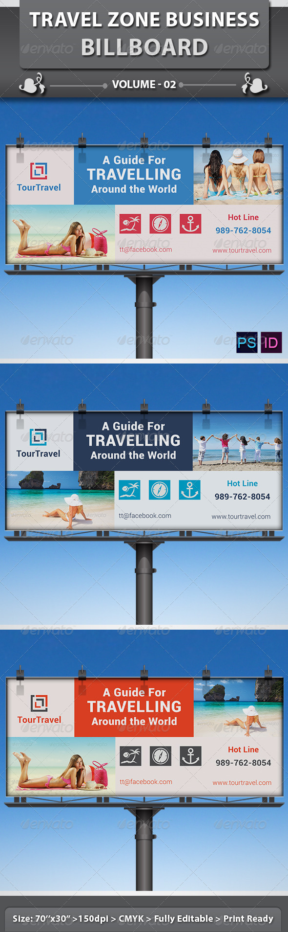 Travel / Tourism Business Billboard | Volume 2 - Signage Print Templates