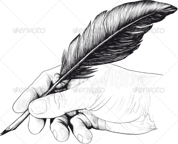 Vintage Drawing of Hand with a Feather Pen - Miscellaneous Characters