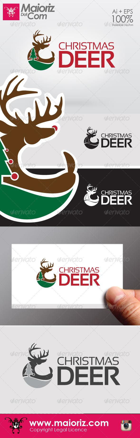 Christmas Deer Logo - Animals Logo Templates