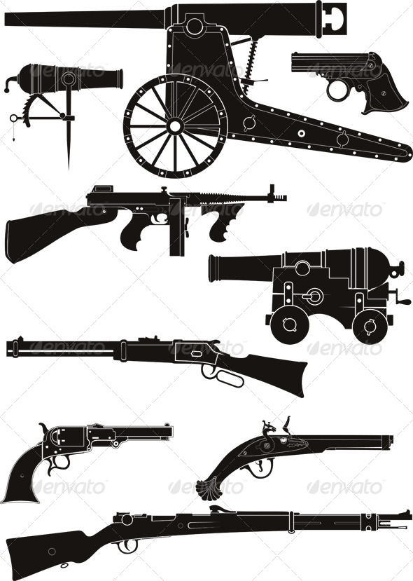 Classic Firearms of Different Historical Periods - Man-made Objects Objects