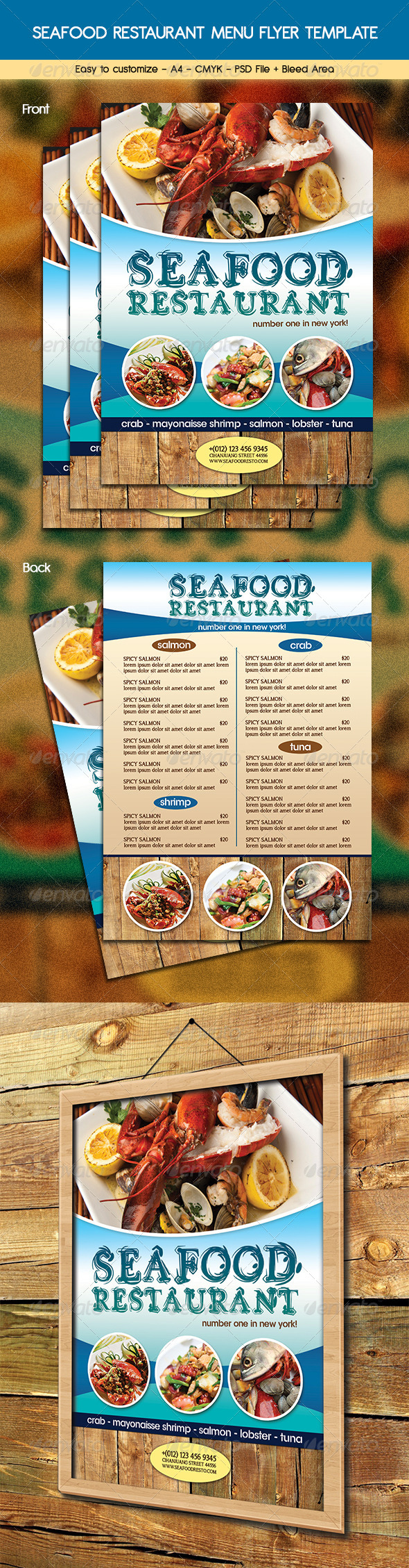 Seafood Restaurant Menu Flyer - Food Menus Print Templates