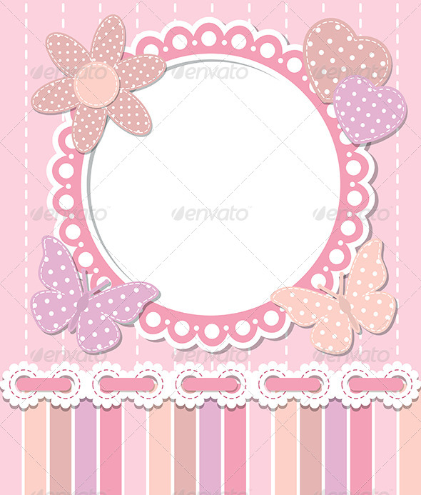 Romantic Pink Frame - Borders Decorative
