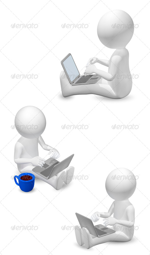 man with laptop - Abstract 3D Renders