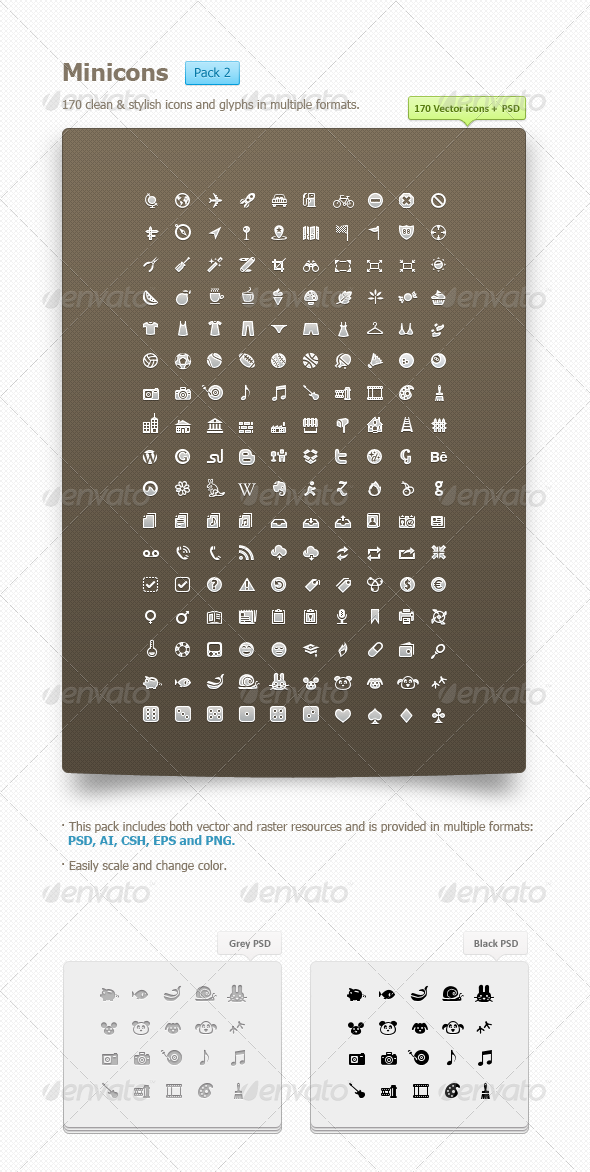 Minicons Pack 2 (170 vector icons + PSD/CSH) - Web Icons