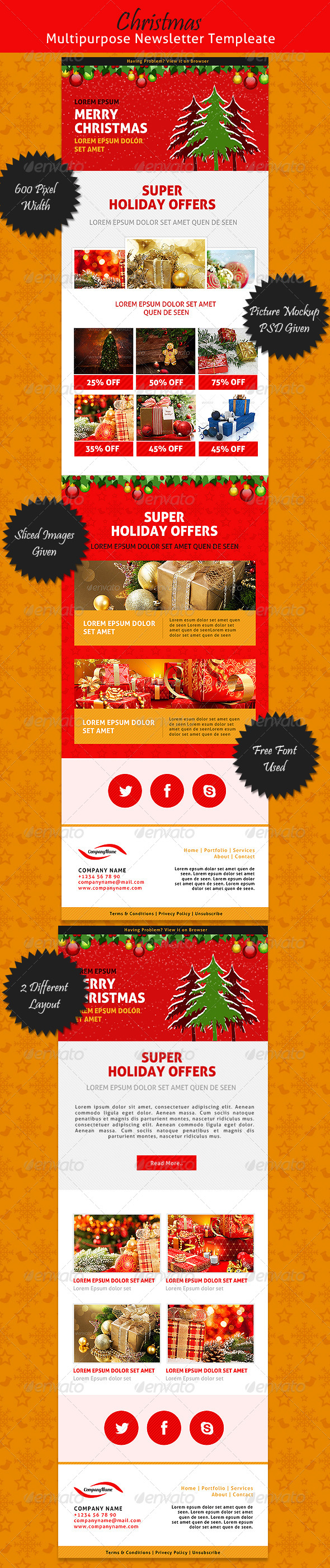 Christmas Multipurpose Newsletter Template - E-newsletters Web Elements