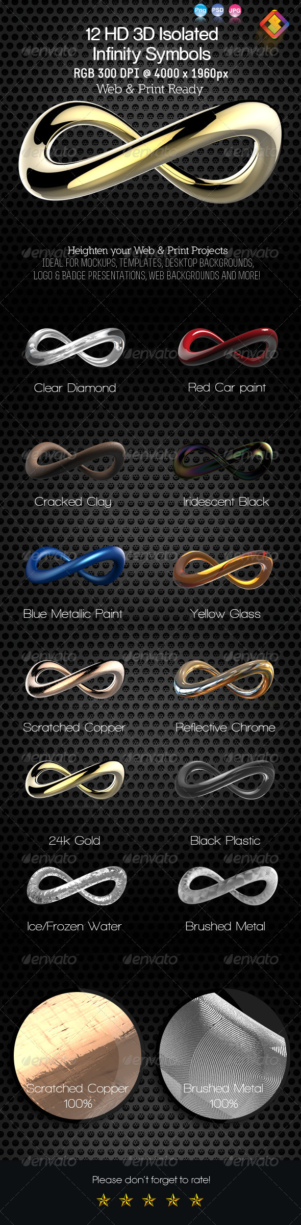12 HD 3D Isolated Infinity Symbol - Objects 3D Renders