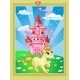 Landscape with Pink Magic Castle and Unicorn