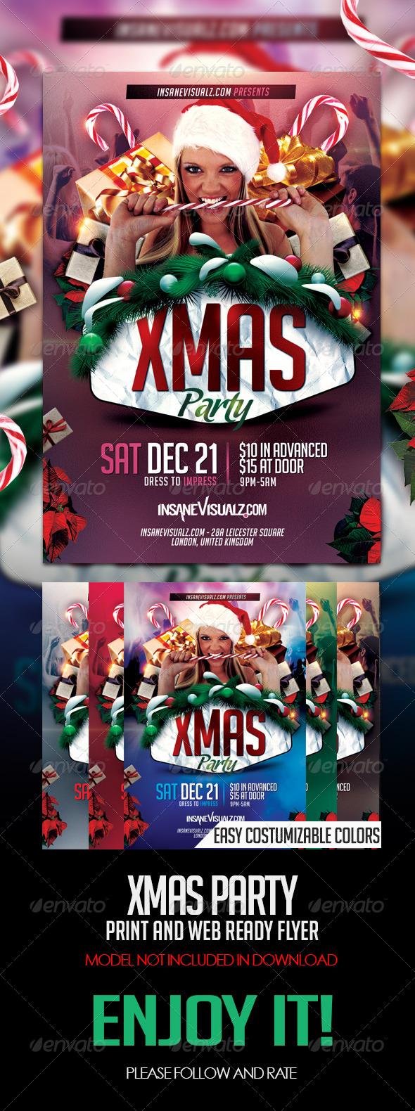 Xmas Party PSD Flyer - Flyers Print Templates