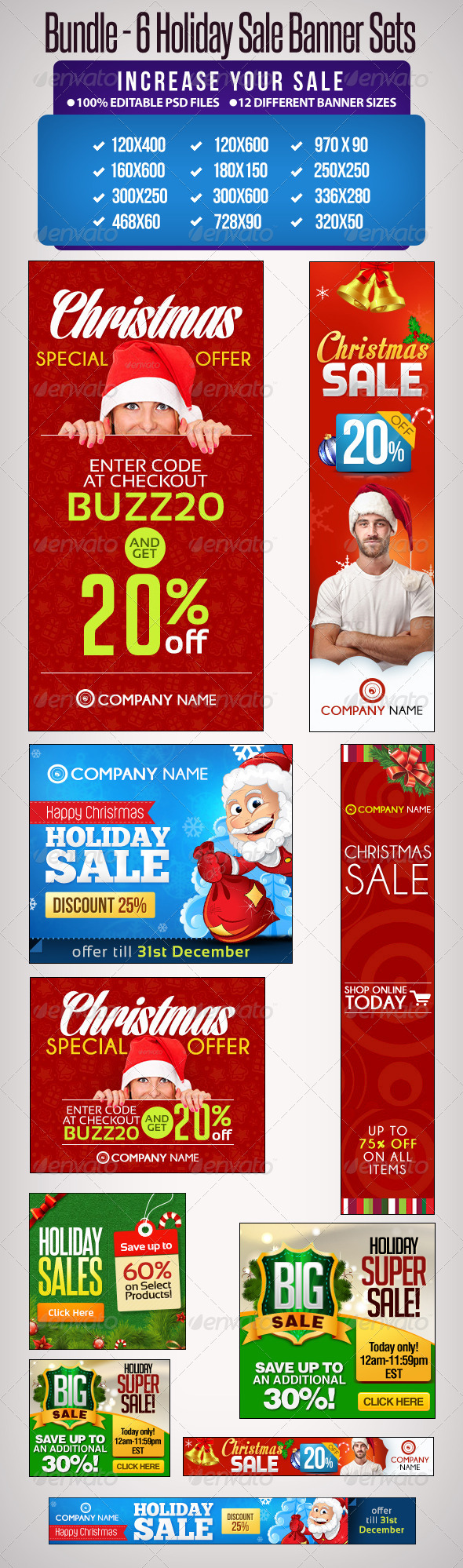 Bundle - 6 Sets of Holiday Sale Banners - Banners & Ads Web Elements