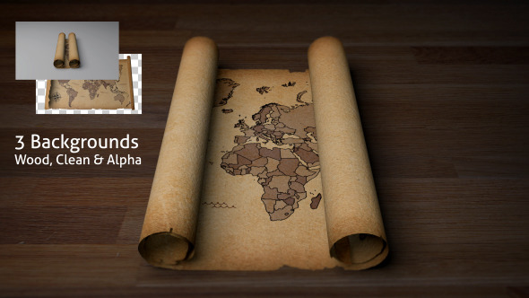 Old Scroll Parchment With World Map By Puk