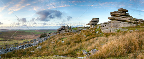Dusk at Stowes Hill - Stock Photo - Images