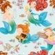 Seamless Pattern from Mermaid Girls with Treasures - GraphicRiver Item for Sale