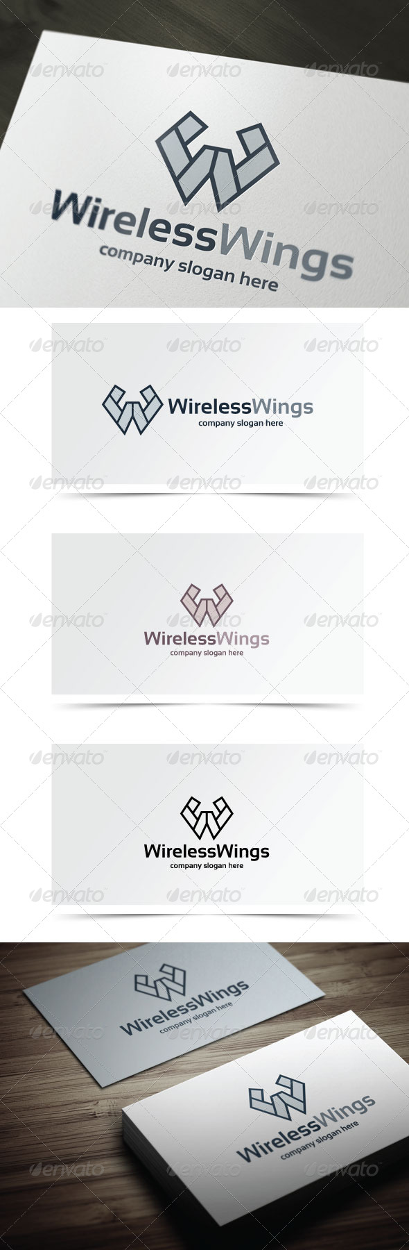 Wireless Wings - Letters Logo Templates