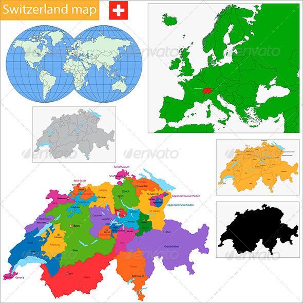 Swiss Confederation Map - Travel Conceptual