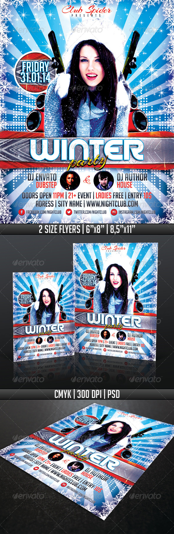 Winter Party Flyer Template - Events Flyers