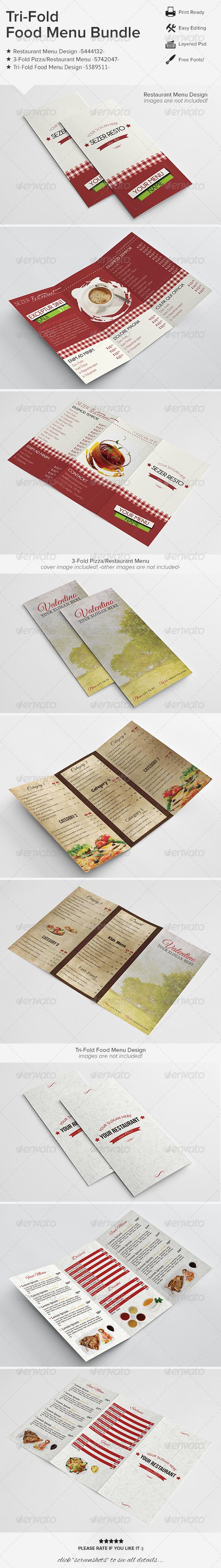 Tri-Fold Food Menu Bundle 01 - Food Menus Print Templates