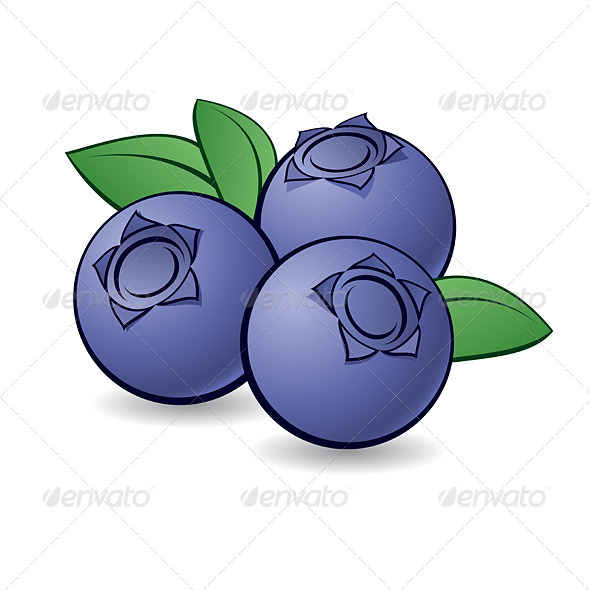 Cartoon Blueberry. - Food Objects