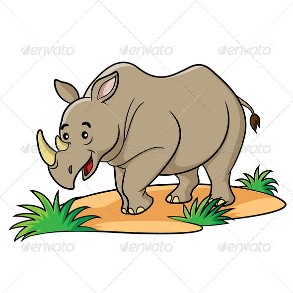 Rhino Cartoon - Animals Characters