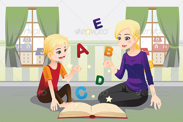 Mother Teaching her Child - People Characters