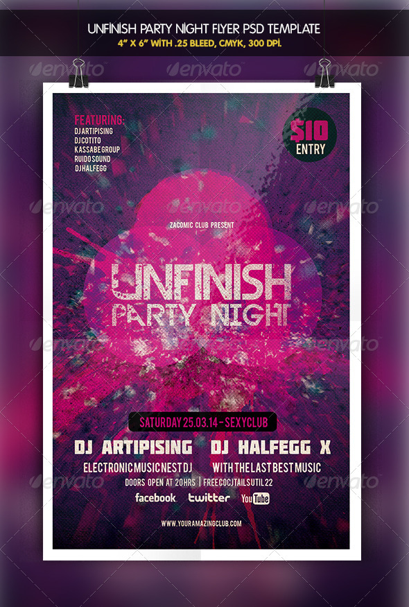 Unfinish Night | Party Flyer - Clubs & Parties Events