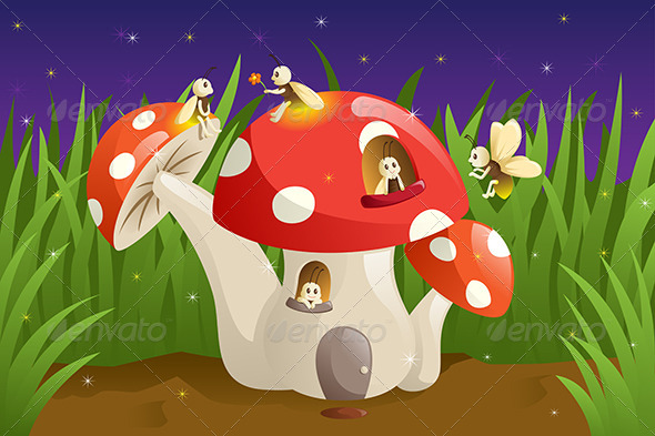 Mushroom House with Fireflies - Animals Characters