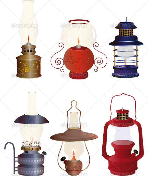 The Complete Set of Old Oil Lamps - Objects Vectors