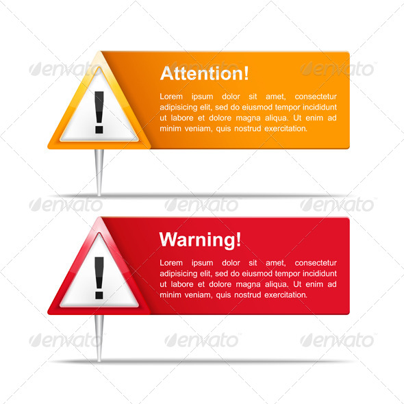 Attention and Warning Banners - Miscellaneous Vectors
