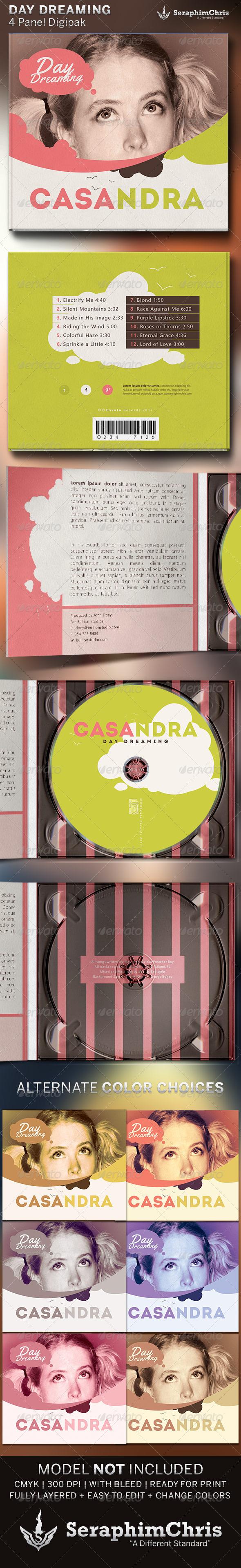 Daydream: Digipak CD Cover Artwork Template - CD & DVD Artwork Print Templates