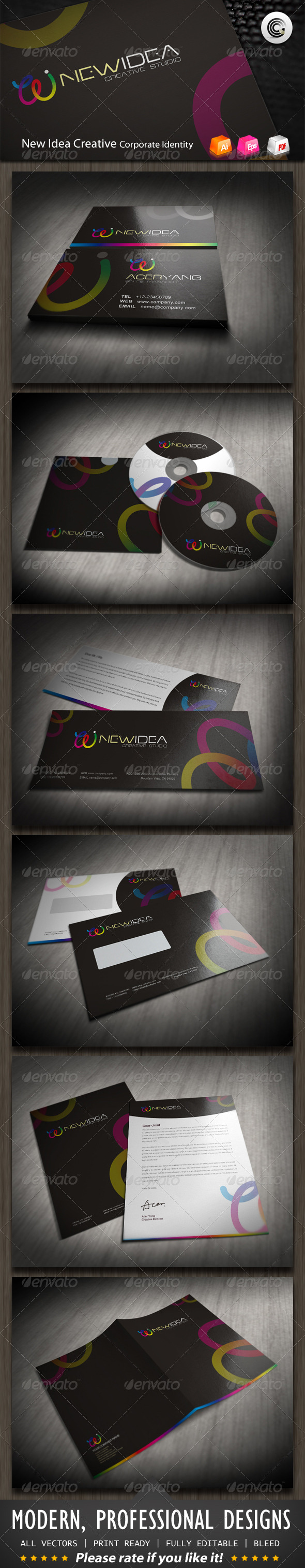 New Idea Creative Studio Corporate Identity - Stationery Print Templates