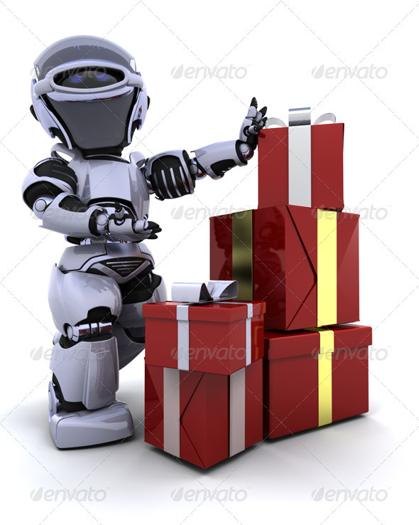 Robot with Christmas Presents by kjpargeter | GraphicRiver