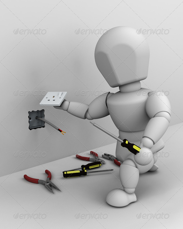 White Character as an Electrician - 3D Backgrounds