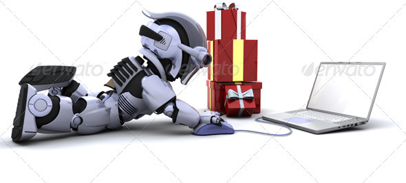 Robot Doing Online Christmas Shopping - 3D Backgrounds