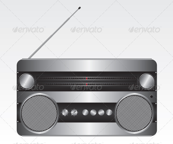 Retro Silver Radio Illustration - Technology Conceptual