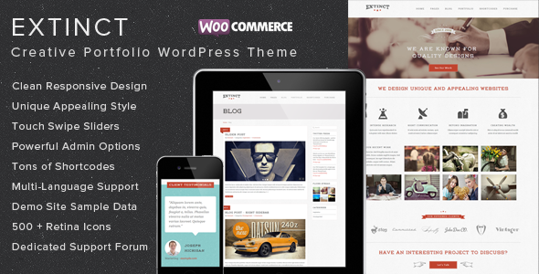 Extinct – Retro Vintage Portfolio WordPress Theme