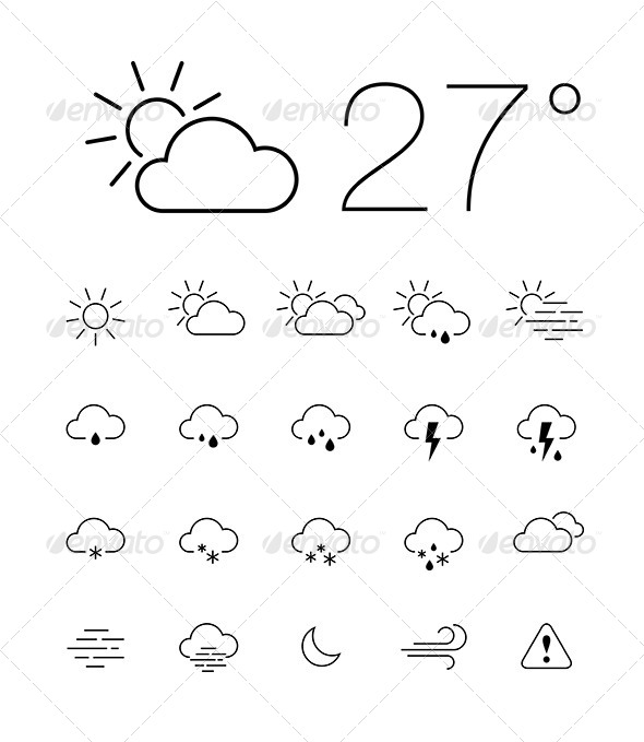 Thin Weather Icon Set - Icons