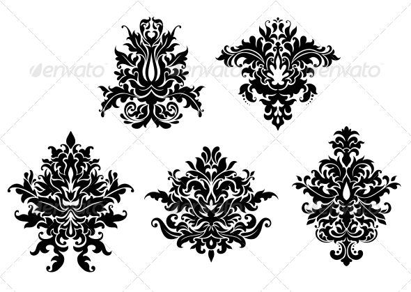 Floral Damask Patterns Set - Patterns Decorative