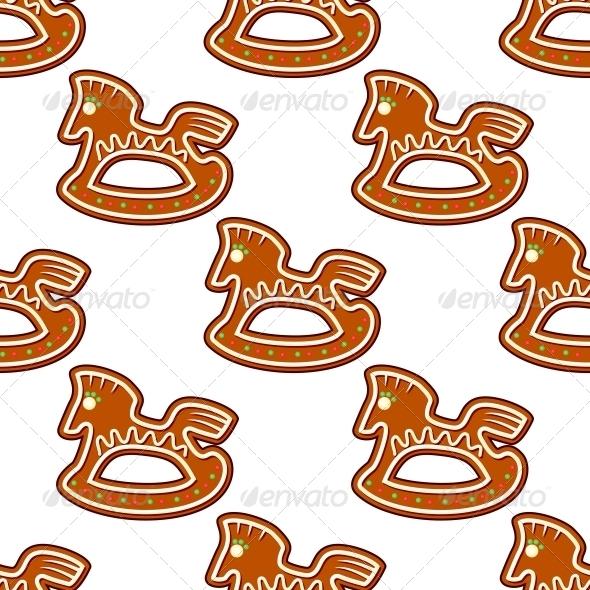 Gingerbread Brown Horses Seamless Pattern - Christmas Seasons/Holidays