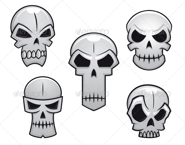 Cartoon Skulls Set with Danger Emotions - Halloween Seasons/Holidays