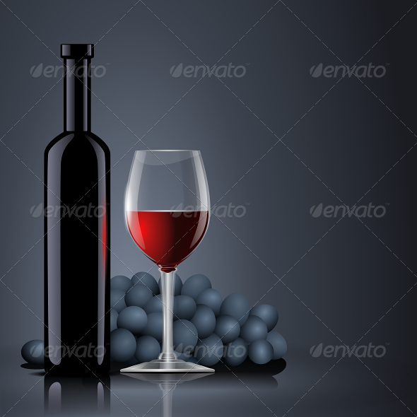 Bottle Red Wine with a Glass and Grapes - Backgrounds Decorative