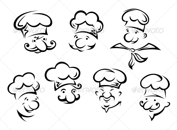 Cartoon Portraits of Chefs - People Characters