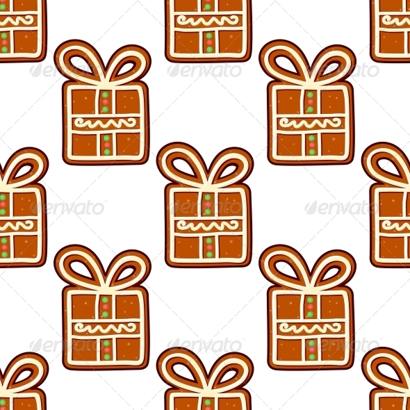 Gingerbread Presents Seamless Pattern - Christmas Seasons/Holidays