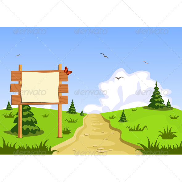 Landscape in Front of Blank Blackboard Navigation - Landscapes Nature