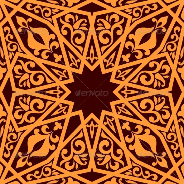 Arabic Seamless Pattern with Geometric Elements - Patterns Decorative