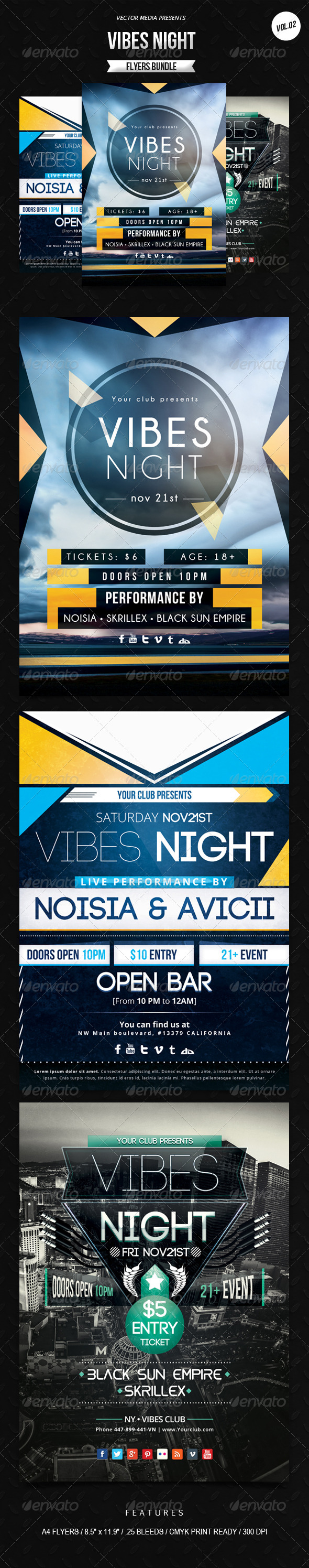 Vibes Night - Flyers Bundle [Vol.2] - Clubs & Parties Events