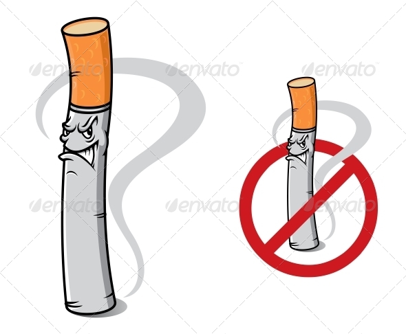 Sign No Smoking with Danger Cigarette - Health/Medicine Conceptual
