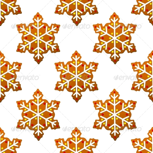 Gingerbread Snowflakes Seamless Pattern - Christmas Seasons/Holidays