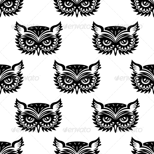 Seamless Pattern with Black Owl Head - Patterns Decorative