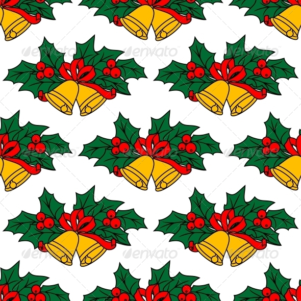 Seamless Pattern with Christmas Bells - Christmas Seasons/Holidays