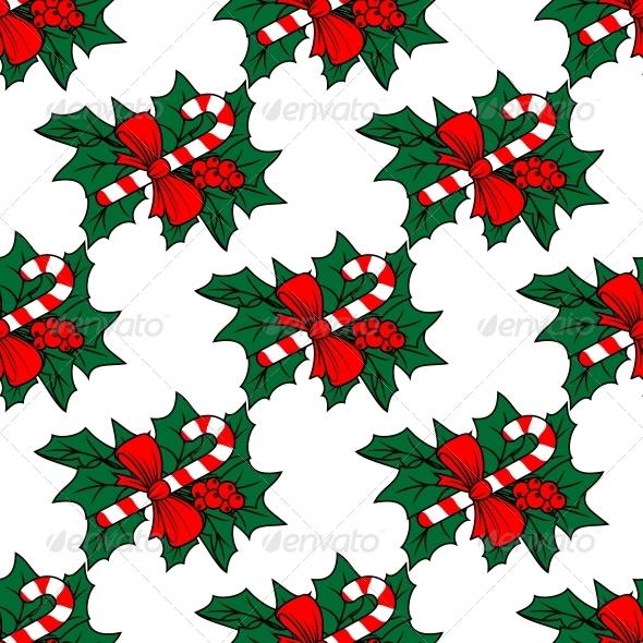 Christmas Seamless Pattern with Candy Sticks - Christmas Seasons/Holidays
