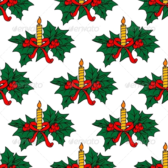 Christmas Candles Seamless Pattern - New Year Seasons/Holidays